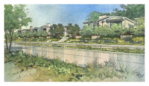 Rendering of Jimmy Durante Blvd. view of 38-home Community Response Alternative